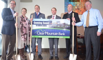 Pictured left to right are Andy Lang, Mayor of Bridgeport; Amy Wilson, Director for Harrison Economic Development Corporation; Tim Stout, VP of Commercial Lending for Clear Mountain Bank; David M. Thomas, President and CEO of Clear Mountain Bank; Roger Hardesty, Board Chairman for Clear Mountain Bank Board of Directors; and Ron Stanley, CFO and Real Estate Manager for The Thrasher Group.